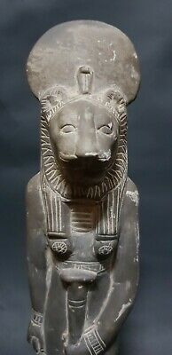 Rare ANCIENT EGYPTIAN ANTIQUES Statue Of Goddess SEKHMET EGYPT Basalt Stone BC