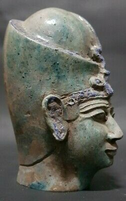 Rare ANCIENT EGYPTIAN ANTIQUES Head Of Queen Toya Egypt Blue Glazed Stone 300 BC