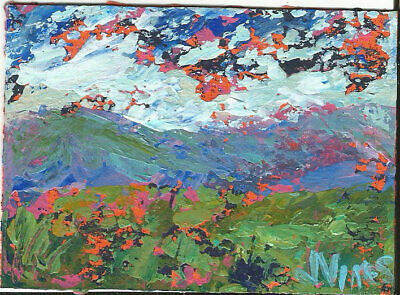 Original Abstract Acrylic Knife Mountain Greenery Landscape Painting ACEO ART NR