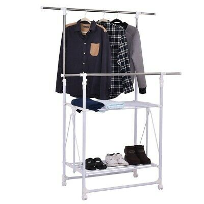 Adjustable Double Rail Folding Rolling Clothes Rack Hanger w/2 Shelves Durable