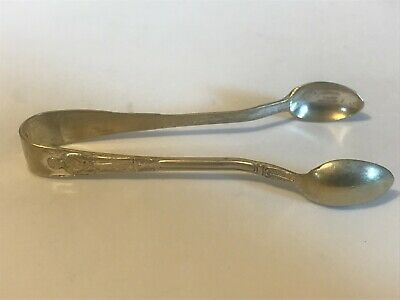 Antique EPNS Religious Silver Plate Sugar Cube Tongs Priest/Old Man