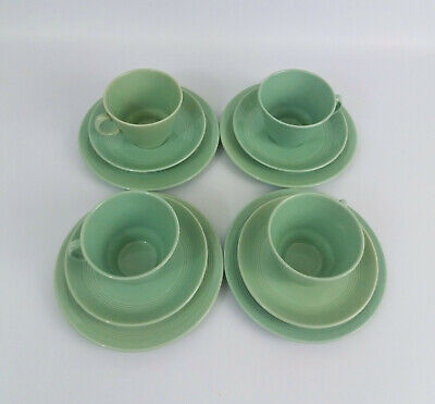 4 Vintage Woods Utility Ware Beryl Green Trios Cups, Saucers and Side Plates