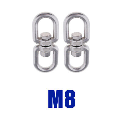 2x Stainless Steel Swivel Shackle Ring Adapter Rotator for Hammock- M8