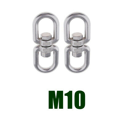 2x Stainless Steel Swivel Shackle Ring Adapter Rotator for Hammock -M10