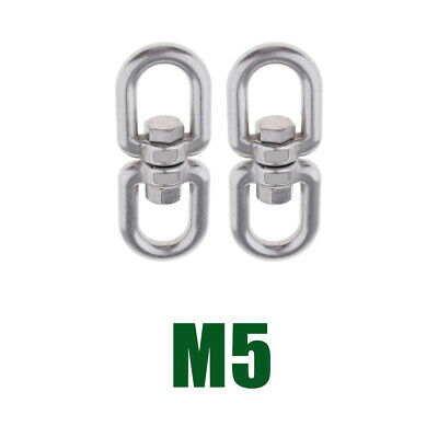 2x Stainless Steel Swivel Shackle Ring Adapter Rotator for Hammock -M5