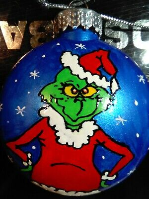 DR SEUSS GRINCH NAUGHTY Hand Painted CHRISTMAS Ornament shatterproof FLAT ROUND