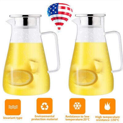 2X 1.5 L Glass Pitcher Jug Water Juice Tea Carafe Cold Drinks Stainless Lid Hand