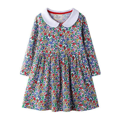 Baby Kids Girls Long Sleeve Dress Floral Print Party Casual Dress Children