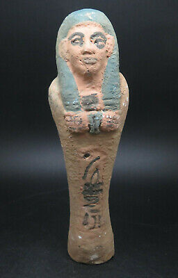 Ancient Terracota Egyptian Hieroglyphics Shabti Statue
