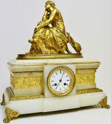 Antique French 8 Day Solid Marble & Ormolu Lady Figure Striking Mantel Clock