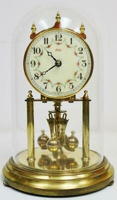Vintage 400 Day Kieninger Anniversary Torsion mantel Clock Under Glass Dome