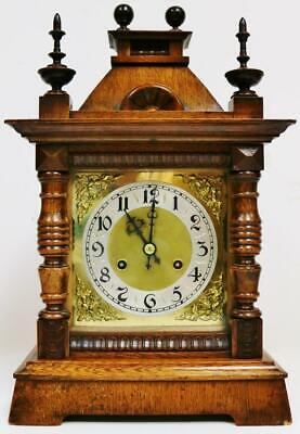 Antique German Hand Carved Oak Architectural 8 Day Gong Striking Bracket Clock
