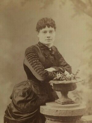 Young New York Woman - Very Elaborate, Fancy Bustle Dress c1880s - Cabinet Card