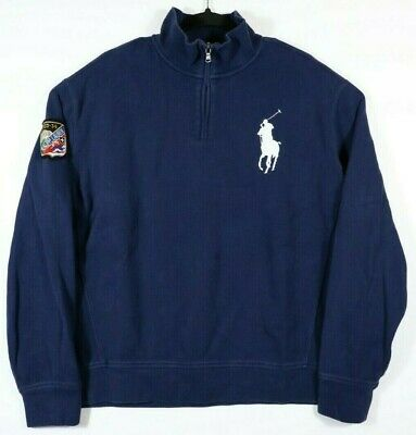 Polo Ralph Lauren Mens Size XL 1/4 Zip Big Pony Blue Sweater 1933-34 Ski Patch