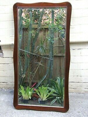 Antique Cedar Carved Frame Wall Mirror w Original Beveled Glass  C.1900 Rare