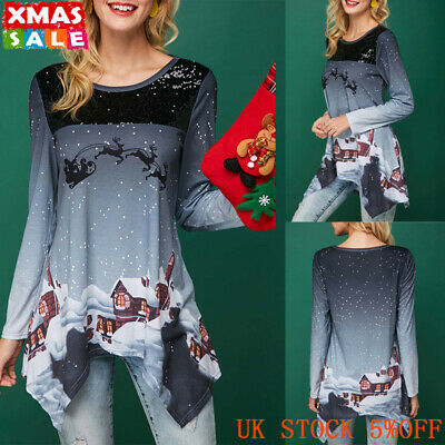 Womens Snow Christmas Xmas Irregular Blouse Top Ladies Long Sleeve Casual Shirts