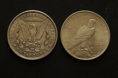 1921 Morgan & 1924 Peace Dollars Silver Coins Free Registered Post.