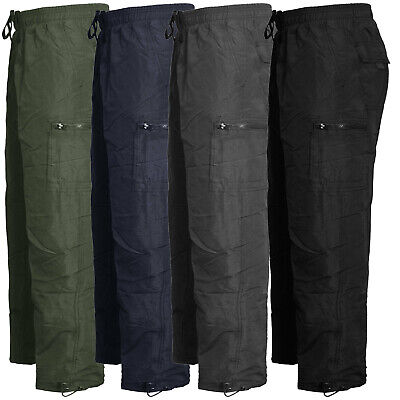 Mens Cargo Combat Fleece Lined Thermal Elasticated Winter Work Bottoms Trousers