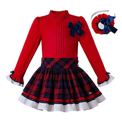 Girls Kids Christmas Frilly Red Bow Shirt Tops Tartan Spanish Skirt Headband Set