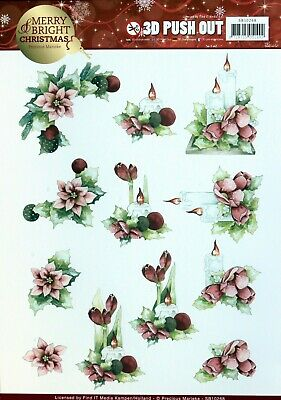 A4 DIE CUT 3D PAPER TOLE DECOUPAGE Push Out Sheet Christmas Poinsettias Candle