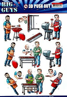 A4 DIE CUT 3D PAPER TOLE DECOUPAGE Push Out Sheet Dad Barbeque Party Birthday
