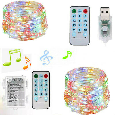 50 100 LED Battery Fairy String Lights Copper Music Micro Rice Wire Party Xmas
