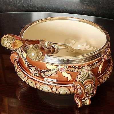 Wedgwood Majolica Pottery Salad Bowl & Silver Plated Servers, 1909