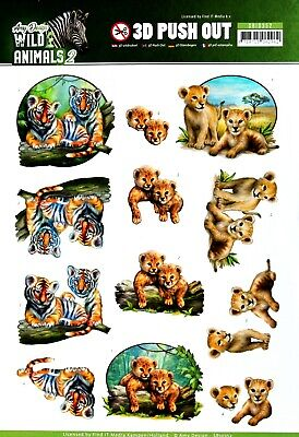 A4 DIE CUT 3D PAPER TOLE DECOUPAGE Push Out Sheet Wild Animals Tiger Lion Cubs