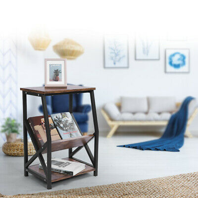Retro Wood End Side Table 2 Tier Table With Books Magazine Rack Shelf Furniture