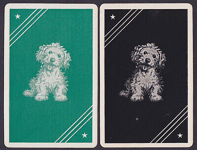 2 Single VINTAGE Swap/Playing Cards TERRIER DOGS 'WHISKERS DT-8-72 Green/Black