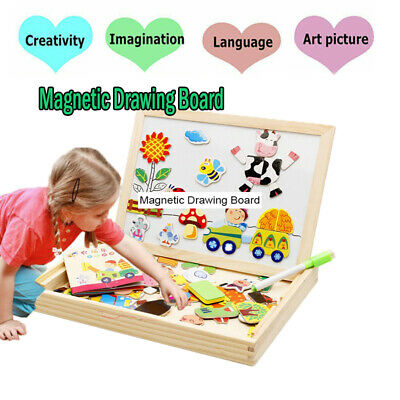 UK Children Wooden Puzzle Painting Drawing Board Magnetic Animal Education Toys