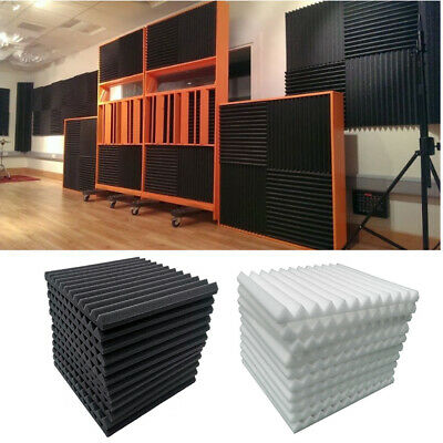 12 Black White Acoustic Foam Wedge Tile Soundproofing Panel Sponge 30x30x1.5 cm