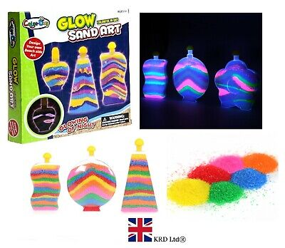 3 GLOW SAND ART BOTTLES SET Kids Craft Hobby Creative Toy Bottle Box PM571066 UK