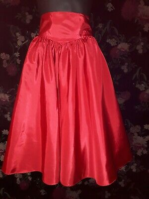 Genuine Vintage 80s Red Prom Skirt with tulle underskirt Size 10-12