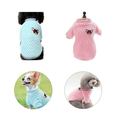 Knitted Jumper Coat Jacket Embroidery Chihuahua Clothes Pet Puppy Cat Sweater