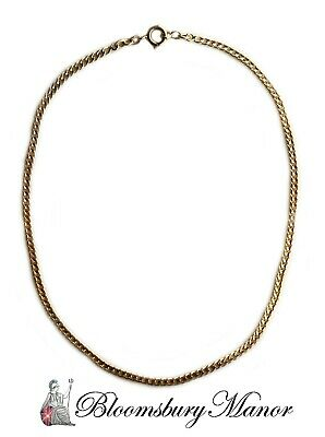 French Antique Victorian 18k Yellow Gold 4mm Flat Curb Link Necklace, 16in 16.6g