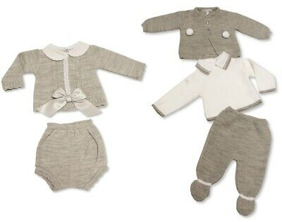 Baby Boys Girls Grey Unisex Spanish Knitted Outfit 2 3 Piece Set Top Pants 09 34