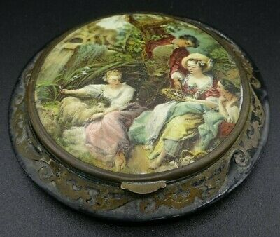 Antique French Black Lacquer & Brass Fretwork Compact - Romantic Scene As Found
