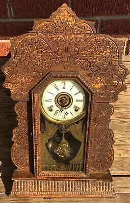 ANTIQUE GILBERT's Gingerbread Style WOODEN MANTLE CLOCK Navy Conn ASIS