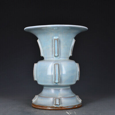 "10.4"" China Old Antique Porcelain song jun kiln white glaze zun Ceramics Vase"