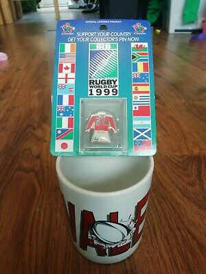 1999 Wales Rugby World Cup Mug And Pin Badge Unused
