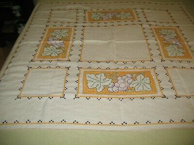 """Vintage Embroidered Linen Tablecloth with Crochet Edges - 46"""" Square"""