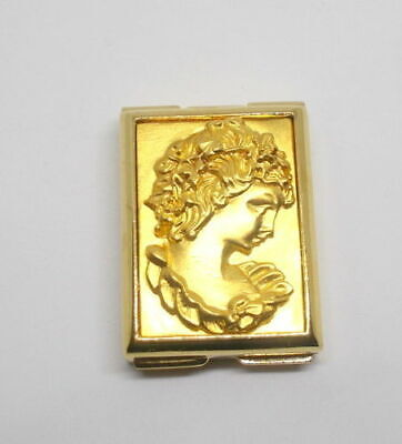 """Estee Lauder Solid Perfume Compact - 2000 """"Gold Square Cameo"""" Mint"""