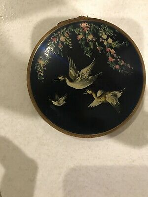 Vintage Melissa Powder Compact Flying Ducks English Blue Antique Enamel
