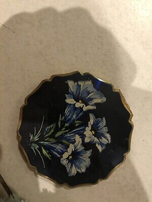 Vintage English Stratton Blue Enamel Flowers Compact Antique