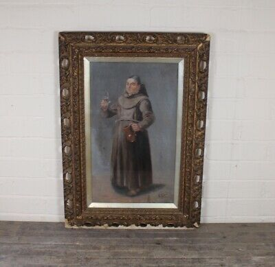 Antique 19th Century Italian School Oil On Canvas Painting Of Monk Pouring Wine.