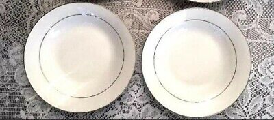 A Set of 2 Brand New Lynns Fine China Soup Salad Cereal Bowls White w Gold Trim