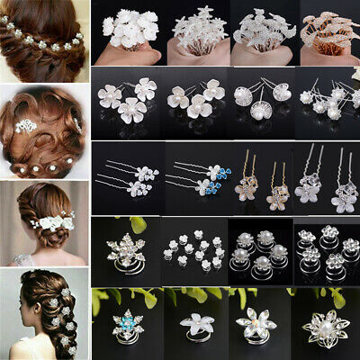 Pearl Flower Crystal Hair Pins Clips Bridesmaid Comb Wedding Bridal Jewelry Lot