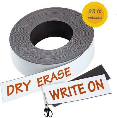 Dry Erase Magnetic Strips - 1 Inch x 23 Feet Magnetic Tape Roll - Blank Write On