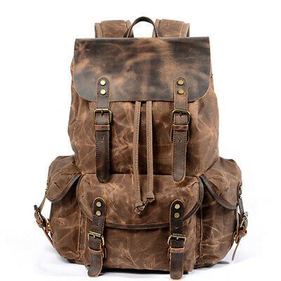 Men Travel Leather Waxed Canvas Backpack Rucksack Laptop Hiking School Book Bag